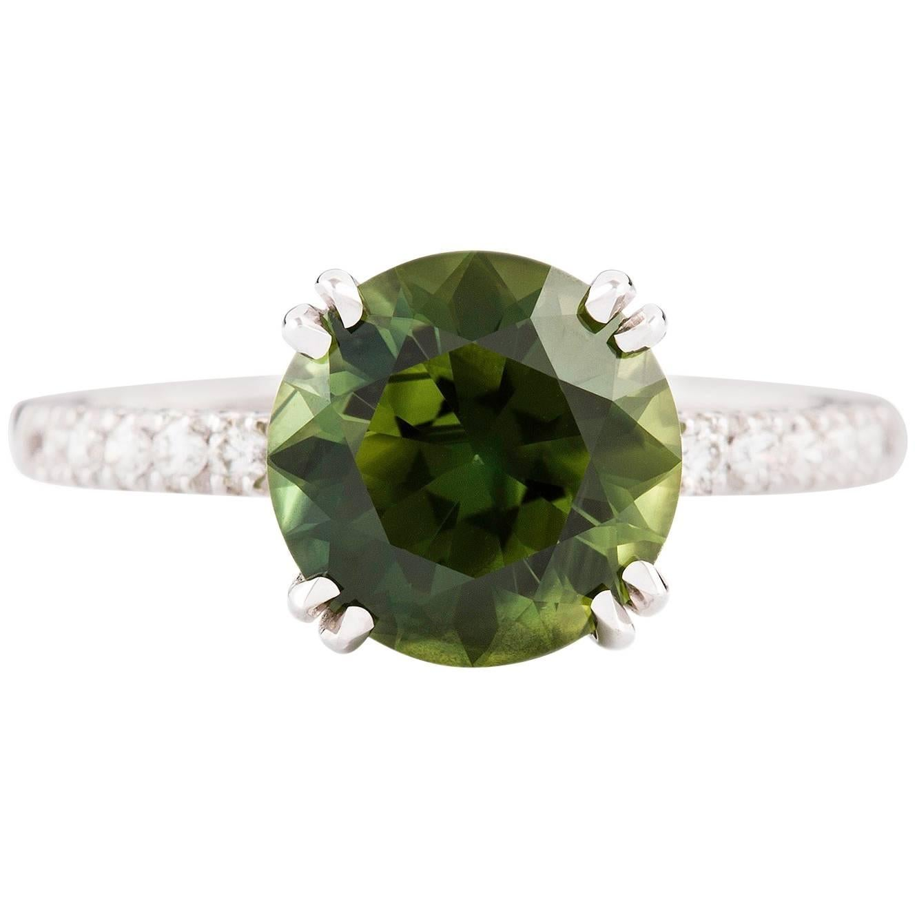 Kian Design White Gold 3.67 Carat Round Green Sapphire and Diamond  Ring
