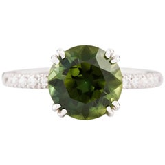 Kian Design White Gold 3.67 Carat Round Green Sapphire and Diamond  Ring