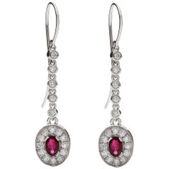 Kian Design 18 Carat White Gold Oval Cut Ruby & Diamond Earrings