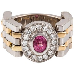 Kian Design Handmade Two-Tone Gold Padparadascha Pink Sapphire & Diamond Ring