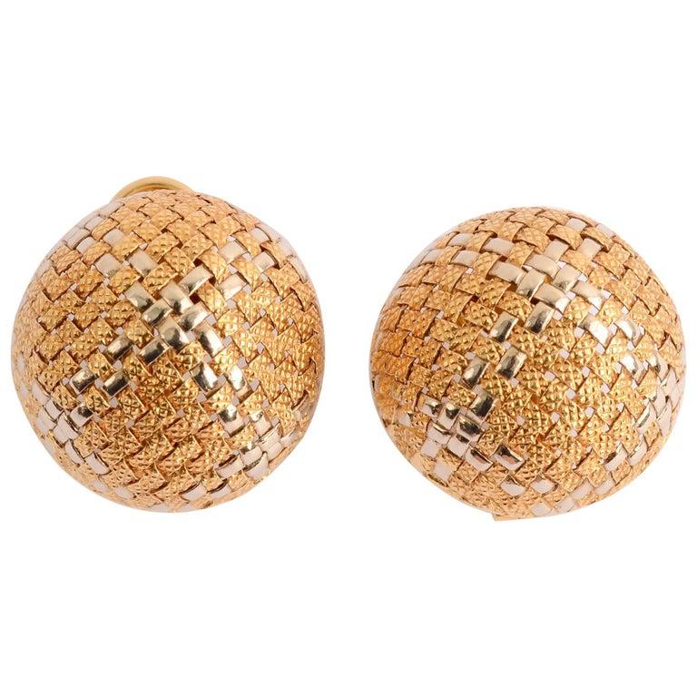 Woven Gold Domed Earrings