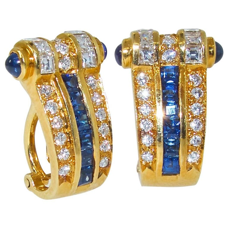 Fine Natural Sapphire and Diamond Earrings
