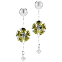 Olive Peridot Blossom Stone Pyramid Earrings