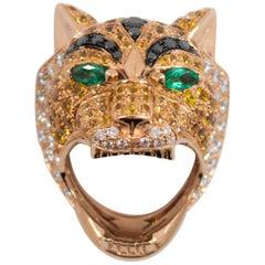 5.10 Carat Yellow Sapphire Emerald Black Diamond White Diamond Gold Tiger Ring