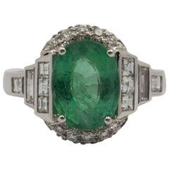 3.30 Carat Emerald 0.90 Carat Diamond White Cocktail Ring