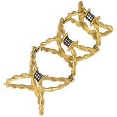 Wendy Brandes Full-Finger Barbed Wire Ring in 18K Yellow Gold, Diamond Accents