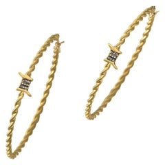 Wendy Brandes Edgy Twisted Barbed Wire Gold Hoops Diamond Earrings