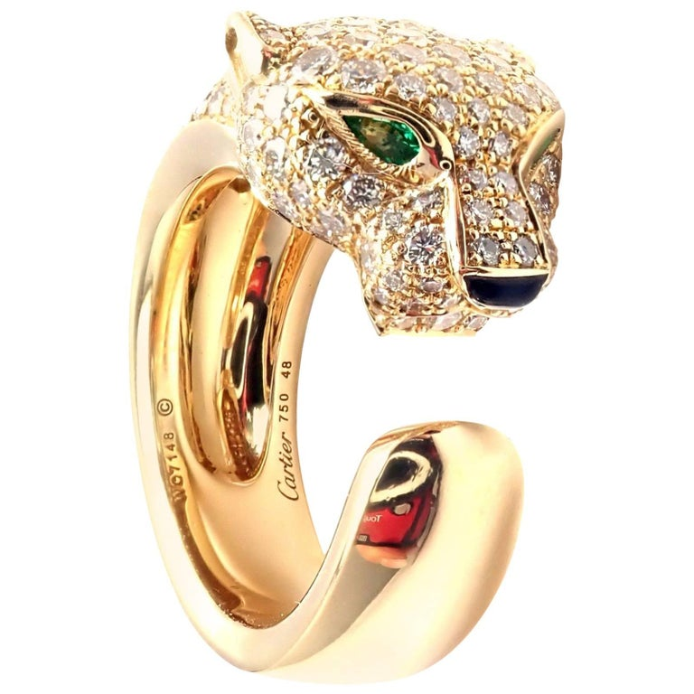 09744eab5f8db Cartier Panther Panthere Emerald Onyx Diamond Gold Band Ring For Sale
