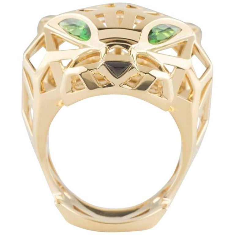Cartier Tsavorite and Onyx Panthere Ring