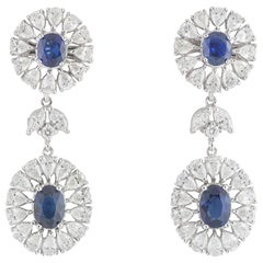 Diamond and Sapphire Drop Earrings