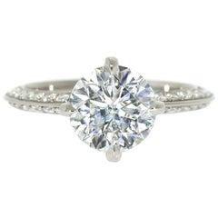 Lizunova 2.03 Carat GIA Diamond Bridal Solitaire Ring in 18 Karat Gold