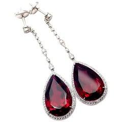 Tiffany & Co. Diamond Large Rubellite Platinum Drop Earrings