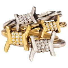 Wendy Brandes 4-Piece Barbed Wire Ring Stack With Diamond, Gold, & Platinum Ring