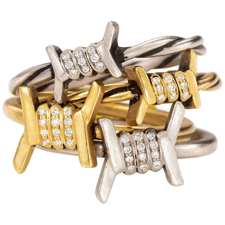 Wendy Brandes 4-Piece Barbed Wire Ring Stack With Diamond, Gold, & Platinum Ring For Sale