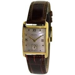 Bulova Solid Yellow Gold Art Deco Original Patinated Dial Manual Wristwatch