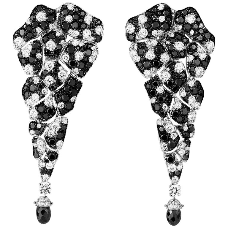 Black Diamonds, White Diamonds, Dangle Earrings