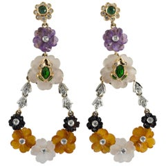 Agate Rock Cristal Emerald Diamond Yellow Gold Flowers Stud Earrings