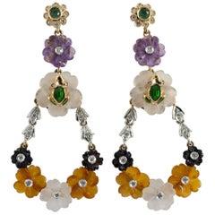 Agate Rock Crystal 0.70 Carat Emerald White Diamond Yellow Gold Stud Earrings
