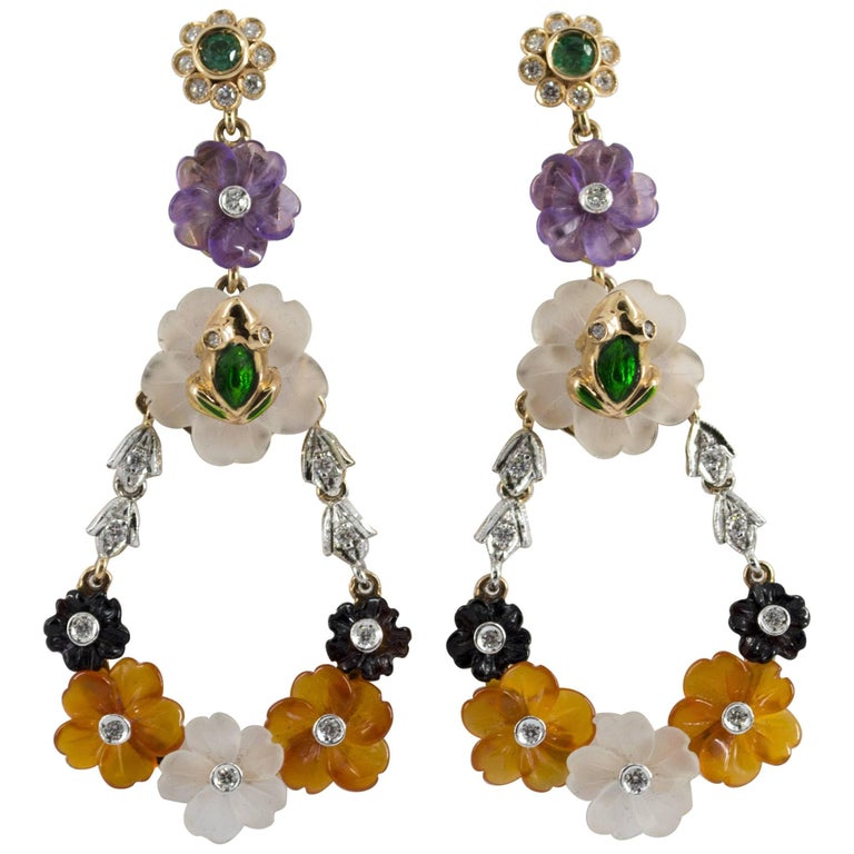 Agate Rock Cristal Emerald Diamond Yellow Gold Flowers Stud Earrings