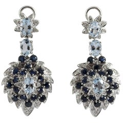10.10 Carat White Diamond Blue Sapphire Aquamarine White Gold Clip-On Earrings