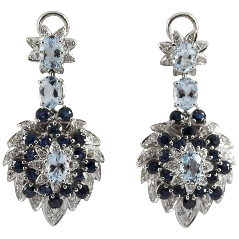 4.00 Carat Aquamarine 5.10 Carat Sapphire Diamond White Gold Clip-On Earrings