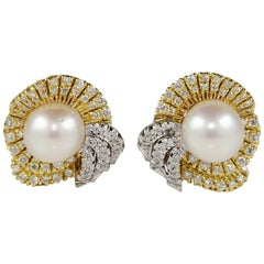 Midcentury South Sea Pearl Diamond Bow Earrings