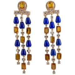 14.0 Carat Yellow Sapphire Lapis 2.90 Carat Diamond Yellow Gold Clip-On Earrings