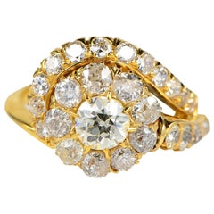 Victorian Rare 2.70 Carat Diamond Crossover Ring