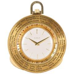 Vintage Gubelin World Timer Pocket Watch 14K Gold-Filled