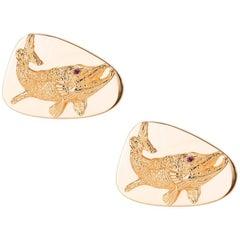 Tiffany & Co. Barracuda Fish Cufflinks with Ruby Eyes in 14 Karat Gold