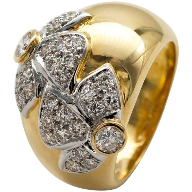 Diamond and White and Yellow Gold Dome Ring