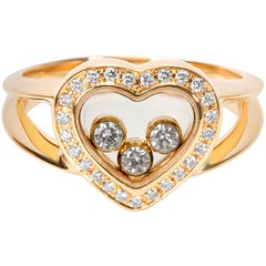 Chopard Happy Hearts Diamond Ring in 18K Yellow Gold 1/4 Carats