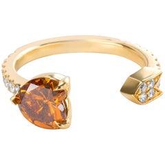 GIA Certified Fancy Deep Yellowish Heart Shape Diamond Ring in 18K Gold 1.35 ctw