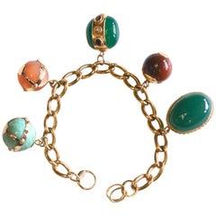 14 K Etruscan Precious Stone Bracelet