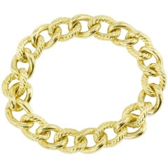 David Yurman 18 Karat Yellow Gold Small Curb Chain Bracelet