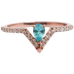 Pear Paraiba Blue Apatite and Diamond Ring