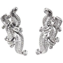 18 Karat White Gold Diamond Earclips