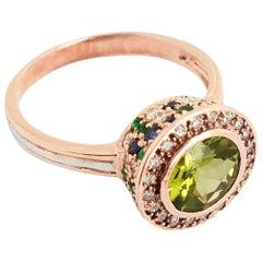 Peridot Sapphire Emerald and Diamond Ring