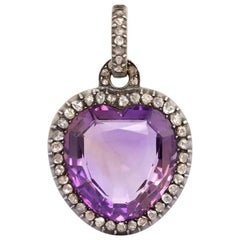 Late Georgian Amethyst and Rose Diamond Heart Pendant