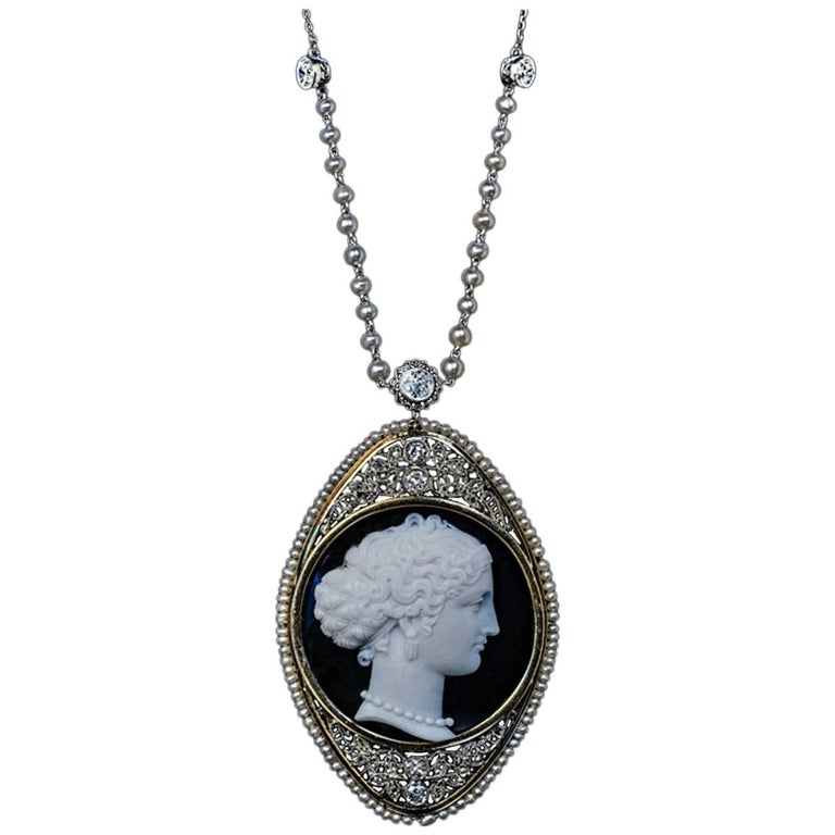 Antique Onyx Cameo Diamond Pearl Necklace