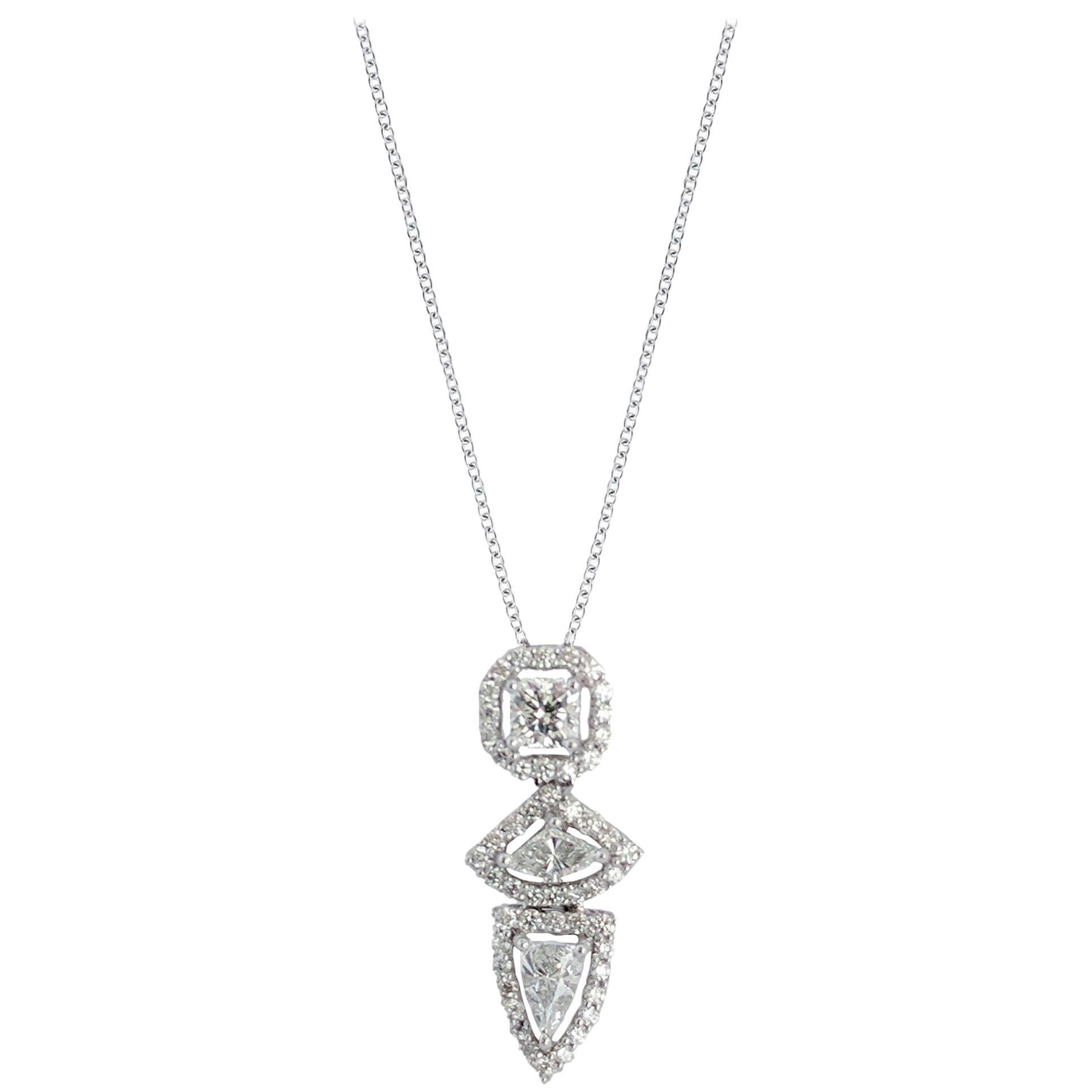 Three Fancy Diamond Vertical Necklace