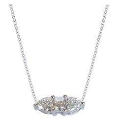 Three Fancy Diamond Horizontal Necklace