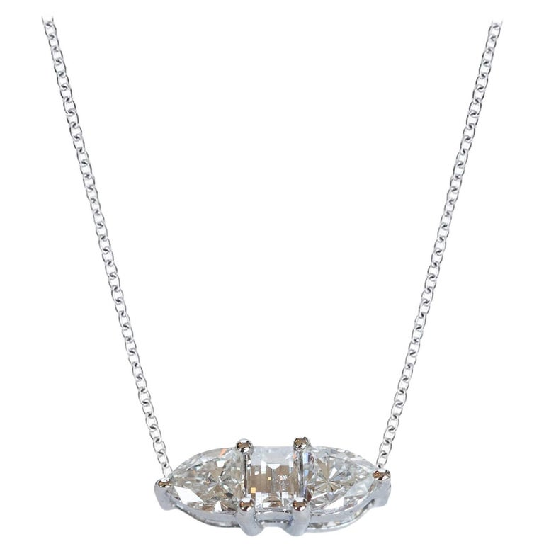 Three Fancy Diamond Horizontal Necklace For Sale