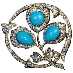 Antique Russian Turquoise Diamond Gold Brooch