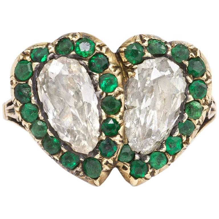 Early 19th Century Diamond and Emerald Double Heart Ring