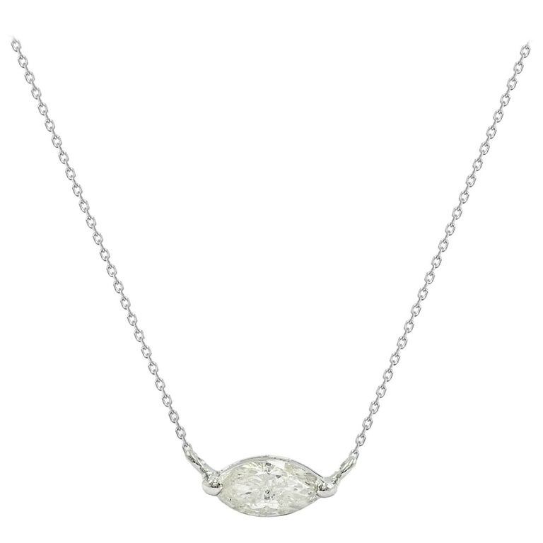 East West Marquise Diamond Solitaire Necklace For Sale