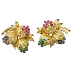 Floral Earrings Set in 18 Karat Yellow Gold with Sapphires, Rubies and Emeralds