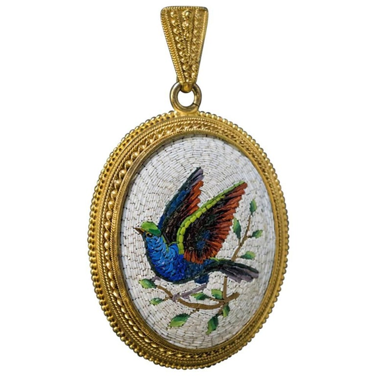 Antique 19th Century Italian Micro Mosaic Locket Pendant