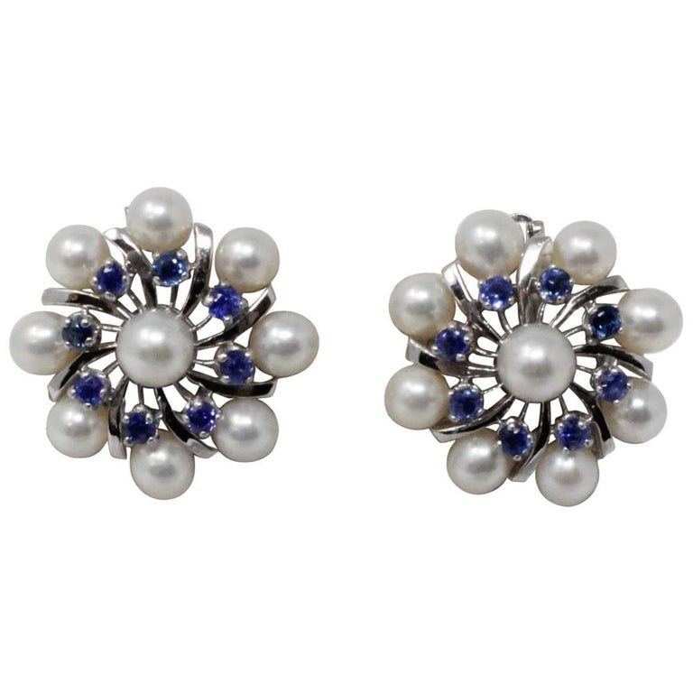 14 Karat White Gold Earrings with Pearls and Sapphires For Sale