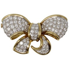 18 Karat Yellow Gold and Platinum Bow Pin with Diamonds